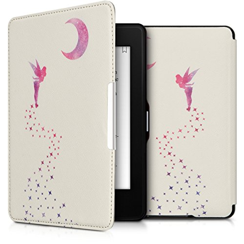 kwmobile Hülle kompatibel mit Amazon Kindle Paperwhite - Kunstleder eReader Schutzhülle Cover Case (für Modelle bis 2017) - Fee Pink Violett Weiß