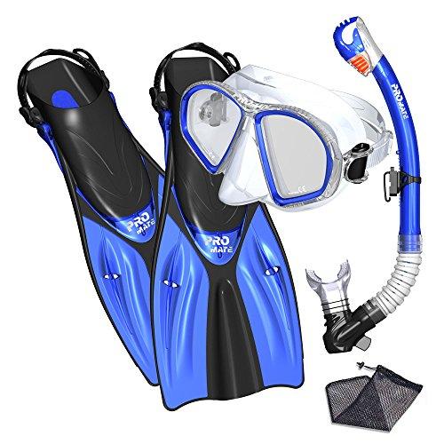 Promate Spectrum Snorkeling Fins Mask Snorkel Set, Blue, SM