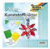 folia 9160/0 - Kunststoff Faltblätter, 20 x 20 cm, 200 µ, 20 Blatt, sortiert in 5 Farben - ideal für das Basteln von Windrädern
