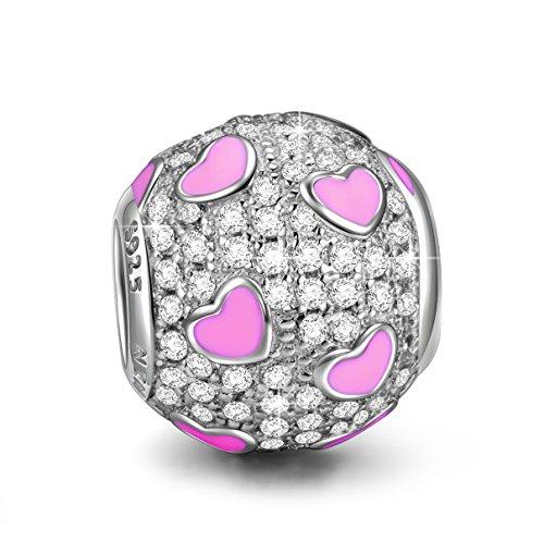 NINAQUEEN Charm Encaja con Pandora Rosa Corazón Regalos Mujer Originales Plata de Ley 925 Zirconia Abalorios para Niñas Madre Hija Esposa de Cumpleaños