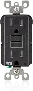 Leviton GFWT1-E Self-Test SmartlockPro Slim GFCI Weather-Resistant and Tamper-Resistant Receptacle with LED Indicator, 15 Amp, Black