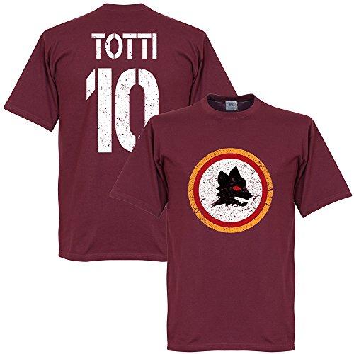 Rom Vintage Wappen mit Totti 10 T-Shirt - dunkelrot - L