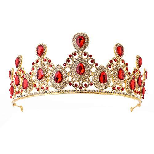 MoGist Couronne de mariage élégante et élégante en forme de goutte avec strass - Tiare de princesse - Diadème pour cérémonie de mariage (rouge)