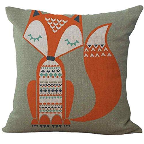 Vovotrade ✿✿✿ Housse de Coussin de coussin à la Mode Avec la copie de Fox pour la Décoration de Maison de Sofa (B)
