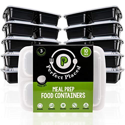 10er Pack- 3-Fach Meal Prep Boxen mit Deckel | BPA-frei | Wiederverwendbar, Stapelbar | Geeignet für Mikrowelle, Gefrierschrank & Geschirrspüler | GRATIS 10 Saucen / Dressing Dosen + 10 Etiketten