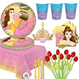 Princess Belle Beauty and the Beast Birthday Party Supplies For 16 With Plates, Cups, Napkins, Tablecover, Candle, 12 Plush Roses, and Exclusive Pin