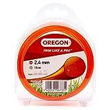 Oregon - Filo per decespugliatore rotondo per tagliabordi, linea di ricambio universale per tutte le teste di decespugliatore standard, 2,4 mm x 15 m, arancione (69-362-OR)