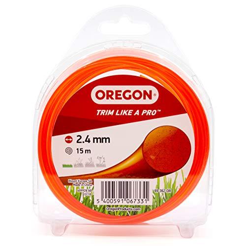 Oregon Mähfaden für Rasentrimmer mit rundem Querschnitt, Universal-Ersatzfaden, Passend für alle Standard-Fadenköpfe, 2.4mm x 15m, Orange (69-362-OR)