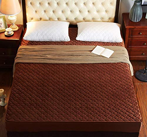 Protector de colchón impermeable y transpirable,Funda de colchón acolchada espesa de terciopelo de cristal,cálida y suave felpa Queen King,cama acolchada,sábana ajustable-Camel_200cmx200cm+30cm