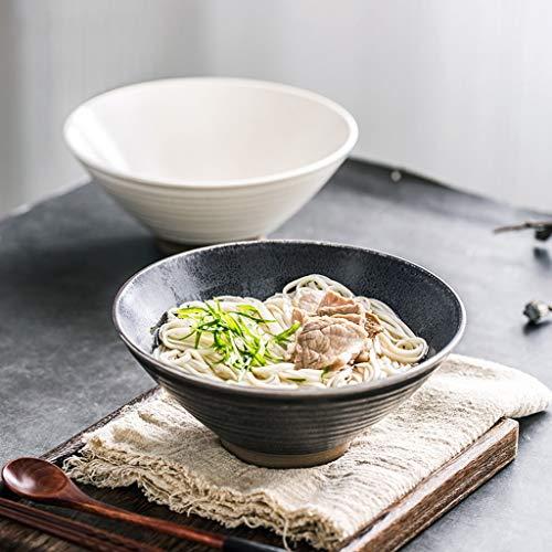 CJW Bol en céramique rond de style chinois - ensemble de couverts de grand bol à soupe de ramen mis dans un bol à seau de commerce diamètre 17,5 cm (Color : Beige)