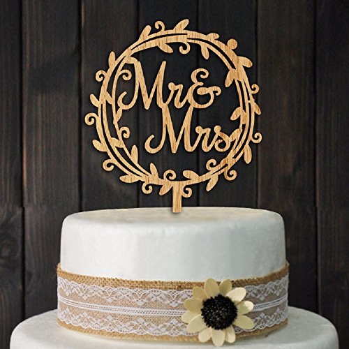YAMI COCU Mr and Mrs Cake Toppers Rustic Wood Wedding Party Engagement Decoration