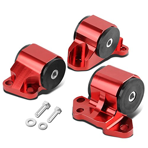 Replacement for Honda Civic/Acura Integra B & D Series MT 3pcs Billet Aluminum 2-Bolt Engine Mount Kit (Red)