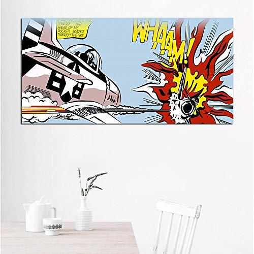 Flduod ART Roy Lichtenstein Abstracte posters Pop Art Canvas Wall Art Pictures voor woonkamer groot formaat 60x120cm