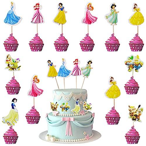 Babioms 48Pcs Principesse Cake Topper, Kids Girls Cake Topper Birthday Topper Cake Topper Princess Toppers per Torta di Compleanno
