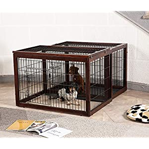 Simply Plus Wood & Wire Dog Crate Rotatable Crate with Slide Tray and Detachable Top Cover Indoor Pet Crate Side Table New Zealand Solid Wood S