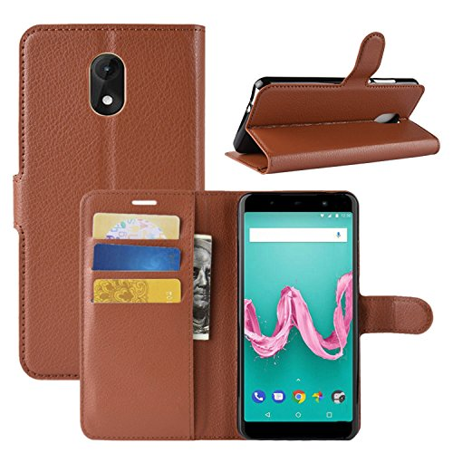HualuBro Wiko Lenny 5 Hülle, Premium PU Leder Leather Wallet HandyHülle Tasche Schutzhülle Flip Hülle Cover für Wiko Lenny5 Smartphone (Braun)