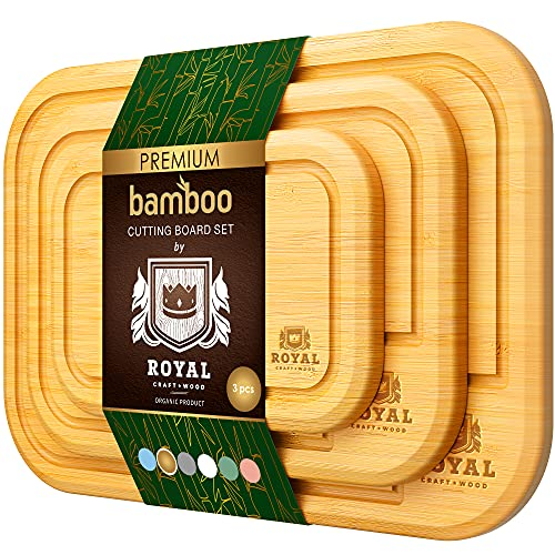 Bamboo Cutting Board Set with Juice Groove (3 Pieces) - Kitchen Chopping Board for Meat (Cutting Board) Cheese and Vegetables (Natural)
