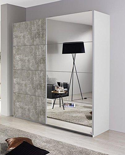Schwebetürenschrank weiß / grau 2 Türen B 181 cm Schrank Kleiderschrank Schiebetürenschrank Spiegelschrank Jugendzimmer Schlafzimmer