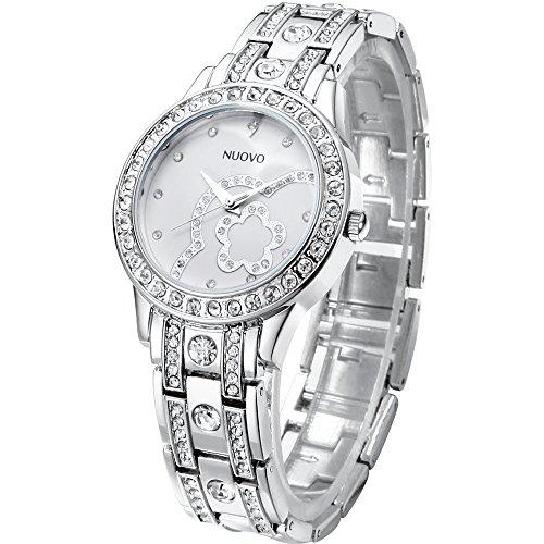 NUOVO Damen Uhr Analog Quarz mit Silber Edelstahl Armband Wasserdicht Kristall Lünette