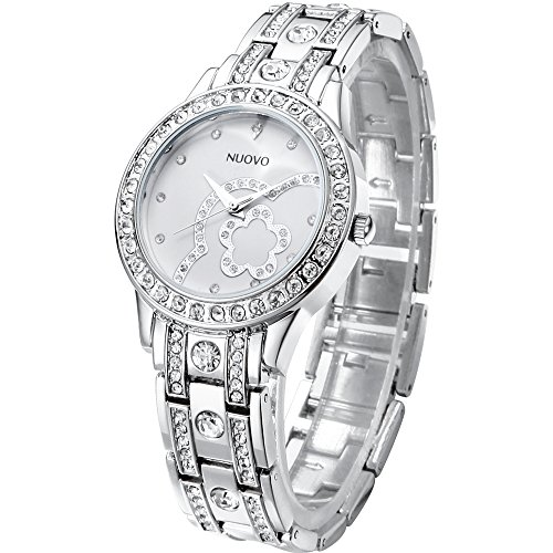 Orologi Donna Argento Analogici Quarzo Acciaio Inox Diamanti Bracciale Moda Lusso Orologi da Polso