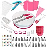 Cake Decorating Supplies   Cake Decorating Kit Baking Supplies Set For Beginners   Rotating Cake Turntable Stand   Icing Piping Tips & Bags   Frosting & Pastry Tools (195 Pcs set)