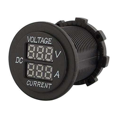 Motorrad Digital LED Voltmeter, DC 12-24V Doppel LED Voltmeter 2 in 1 Voltmeter Amperemeter 0-15A Runde Panel Rot LED Digitalanzeige für Auto Motorrad LKW Boot Marine