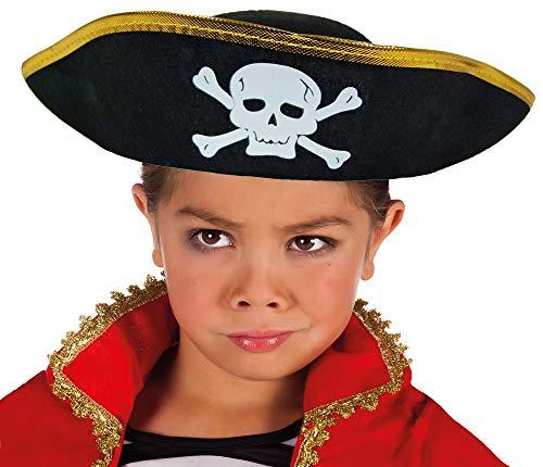 Das Kostümland Piratenhut mit Totenkopf für Kinder - Schwarz Gold