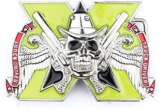 Vintage Cowboy Skull Double Gun Flying Wings Truck Driver Belt Buckle Motorcycle