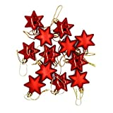 Liitrton 48 Pack Decorations Baubles with Star-Shaped Christmas Hanging Ornaments Shatterproof Craft for Holiday Party (Red)