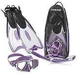 Cressi Palau Long Mask Fin Snorkel Set, Brisbane Lilac, Medium/Large