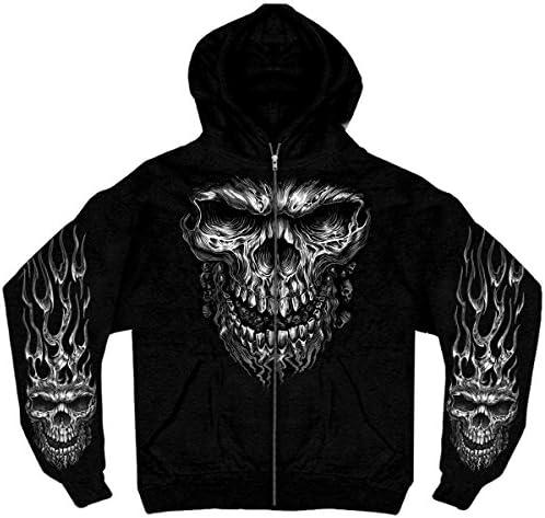 Hot Leathers 13679 Men s Shredder Skull Hooded Sweatshirt Black Large product image