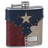 Genuine Top Grain Leather Hip Flask Holding 6 oz - Texas Pride Design - Pocket Size, Stainless Steel, Rustproof, Screw-On Cap - Blue, Red and White Finish Perfect for Engraving - Gift Box Included