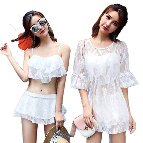 Split Three-Piece Swimsuit Steel Plate Gathered Sexy was Thin Students Small Fresh Large Size Swimwear-White-M (Recommended 80-95 Kg)
