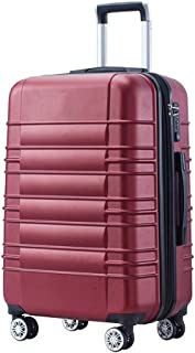 SMLCTY Lightweight 4 Wheel Travel Carry Cabin Luggage Suitcase,Waterproof Aluminum Frame Adjustable Lever 360° Rotating Mute Non-Slip Trolley Case (Color : Red, Size : 24 inch)