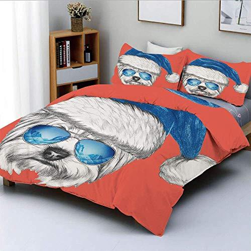 Juego de funda nórdica, Terrier con gorro de Papá Noel azul y espejos, gafas de aviador, divertido juego de ropa de cama de 3 piezas decorativas con animales dibujados a mano con 2 fundas de almohada,
