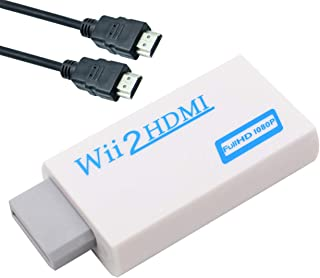 Wii to HDMI Converter Adapter with 3ft High Speed HDMI Cable Wii2HDMI Adapter Output Video Audio with 3.5mm Jack Audio Sup...