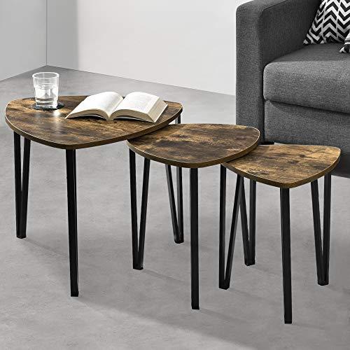 [en.casa] Satztische 3er Set Couchtische Beistelltisch Sofatisch Kaffeetisch 3 Tische Holzfarben