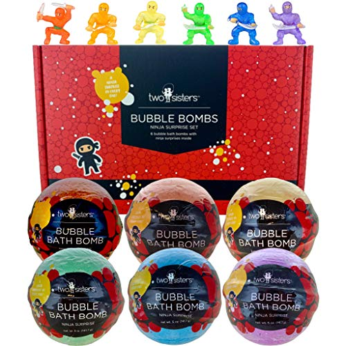 Ninja Bubble Bath Bombs for Kids with Surprise Toys Inside for Boys and Girls by Two Sisters. 6 Large 99% Natural Fizzies in Gift Box. Releases Color, Scent, and Bubbles