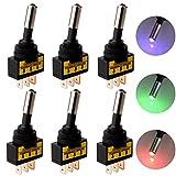 Gebildet 6pcs 12V-24V 20A 3PIN Coche Auto Interruptor de Palanca Interruptores de basculantes con Luz LED(Rojo/Azul/Verde,Cada 2pcs)