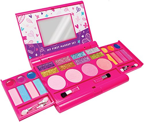 Ma Première Trousse de Maquillage, Kit de Maquillage pour Filles, Palette de Maquillage Dépliante avec Miroir et Fermeture Sécurisée - Sécurité Testée - Non Toxique (Conception Originale)