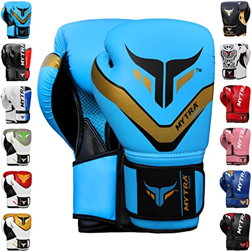 Mytra Fusion Boxing Gloves 10oz 12oz 14oz 16oz Boxing Gloves for Training Punching Sparring Punching Bag Boxing Bag Gloves Punch Bag Mitts (14-OZ, Sky Blue)