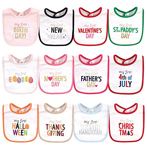 Hudson Baby Unisex Baby Cotton Bibs, Holiday Bold Girl, One Size