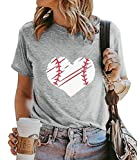 Love Heart Baseball T Shirt Tops for Women Mom Print Short Sleeve Tee Casual Round Neck Blouse