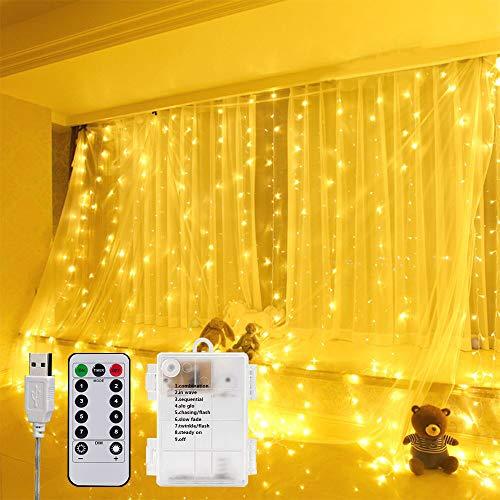 Cortina Luces, Cortina de Luces LED 3x3m 300 LED,Luces Decoración mit 8 Modos de Luz con Control Remoto, Decoración de Dormitorios, Fiesta, Boda, Navidad, Jardín