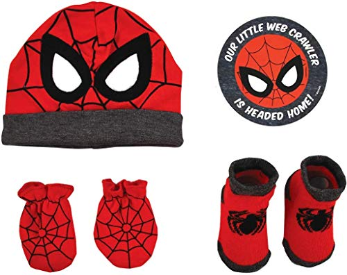Marvel Baby Boys Avengers Spiderman Hat With Mitts and Bootie Gift Set, 0-3M