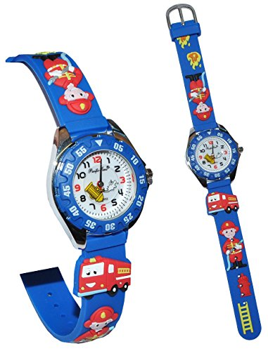 alles-meine.de GmbH Kinderuhr / Armbanduhr - Feuerwehr & Feuerwehrmann - mit Silikon Armband