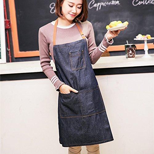Kuinayouyi Delantales Cowboy Simple Antifouling Uniform Unisex Denim Delantales para Mujeres Cocina Hombre Chef Cooking
