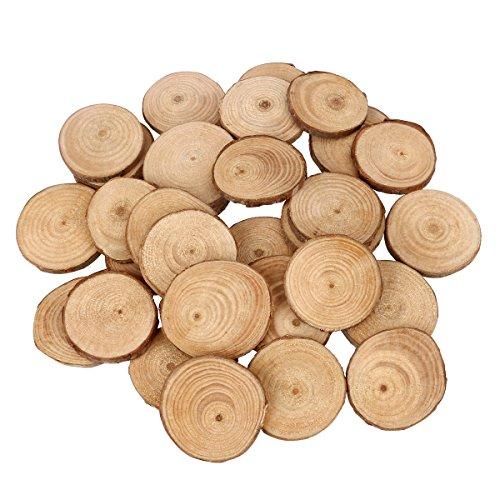 BESTOYARD 30 discos de madera redondos de madera para manualidades, centros de mesa de mesa de 4 a 5 cm