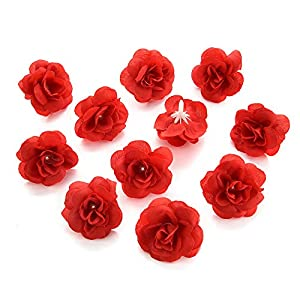 silk flowers in bulk wholesale Fake Flowers Heads Cherry Blossoms Artificial Tea Bud Flower Heads for Wedding Home Decoration Scrapbooking DIY 80pcs 4CM