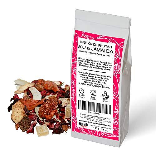 Quality Roasters Coffees Infusion de frutas Agua de Jamaica. Mezcla. Sabor a kiwi. Mandarina, coco, te blanco Anji. Tomar frio o caliente. 100 gramos.